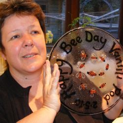 Julie with a Happy Bee Day tray