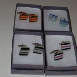Set of 4 Cufflinks made with striped glass